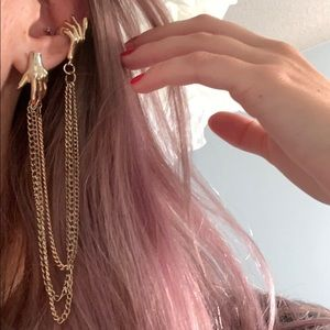 FREE‼️Long Gold Chain Earring + Cuff